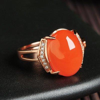 perseverance 不將就正品925銀鑲嵌天然南紅瑪瑙蛋面戒指女款 時尚水晶飾品指環帶證書