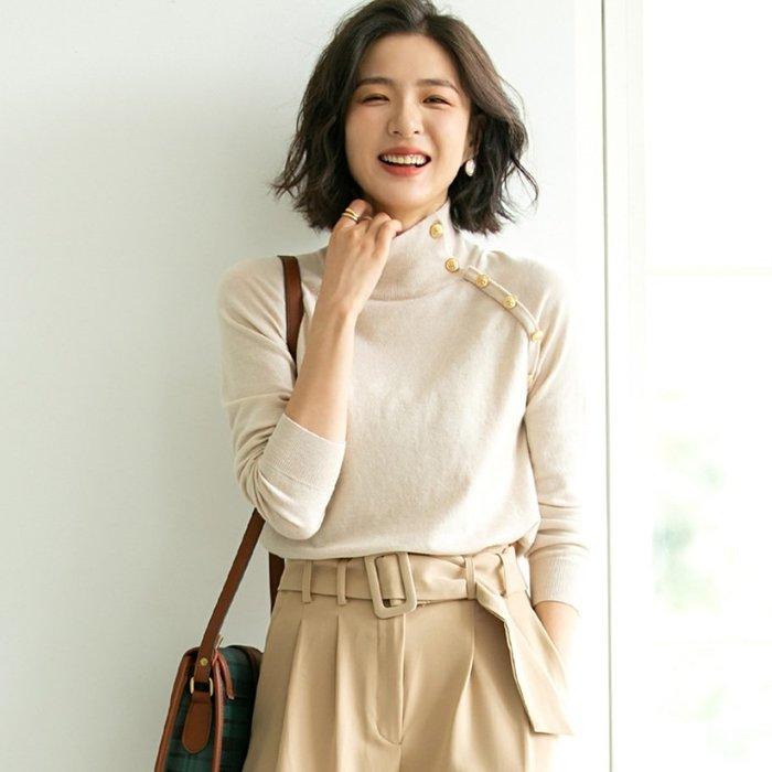 YOHO 長袖上衣 (SDP9490) 實拍純色半高領羊毛混紡針織衫 長袖針織衫 有5色 M-L 預購