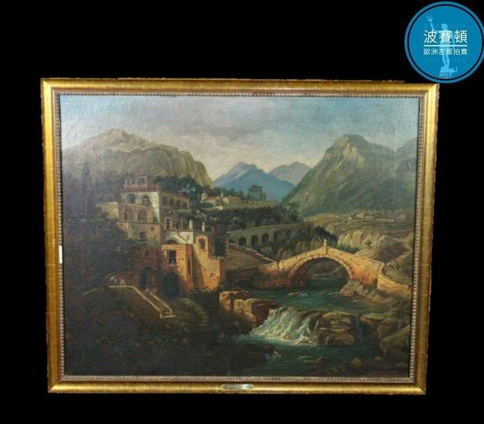 【波賽頓-歐洲古董拍賣】歐洲/西洋古董 意大利古董 手繪油畫  意大利山城景緻 (尺寸:78×64公分)(年份:約1801年)(落款:Otto Eberle )