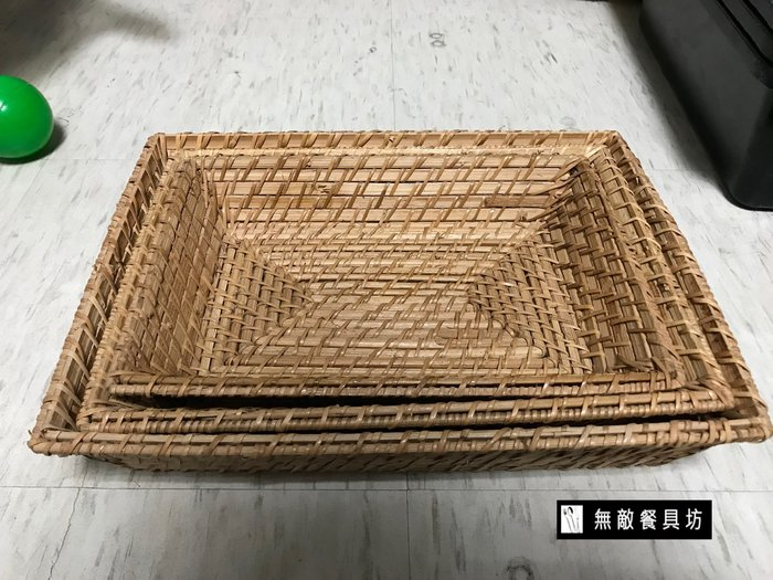 【無敵餐具】長方藤籃(322*235*65mm) 共有3尺寸 編織籃/仿藤籃/收納籃 量多歡迎詢價【T0209】