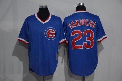 116cm-136cm胸 cubs棒球服mlb小熊隊球衣23號sandberg復古藍白色套頭衫短袖訓練lee