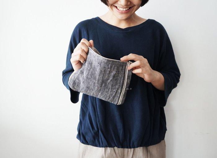 MH選物室 Lino e Lina 拉鍊式 條紋 麻製 化妝包 置物袋