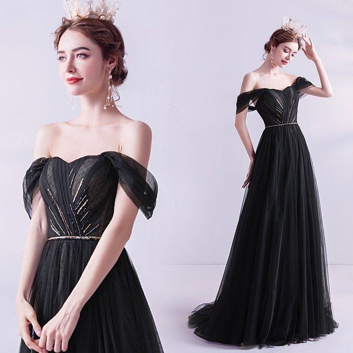 妞妞 婚紗禮服~黑色閃鑽一字肩生日派對宴會婚纱長禮服~3件免郵