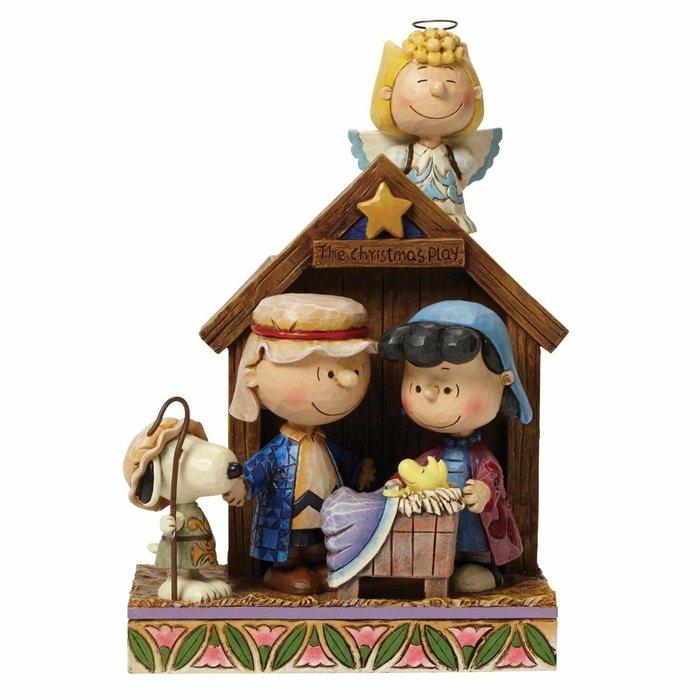 【Dona代購】現貨 美國Enesco精品雕塑 史努比和好友聖誕慶典聖誕夜場景造型塑像 木雕風公仔擺飾 雕像模型