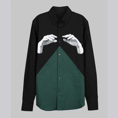 【摩達客】韓國進口EXO合作設計品牌DBSW Color Composer組色者黑綠時尚純棉男士修身長袖襯衫