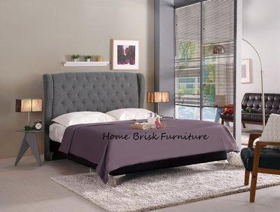 【宏興HOME BRISK】多娜達5尺雙人床(灰色布)/床頭片+皮革床底,促銷全省西部市區免運費,《QM新品16》