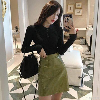 好物多商城 秋裝新款長袖針織打底衫+A字半身裙短皮裙兩件套時尚套裝女裝