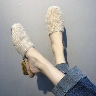 毛毛拖鞋女外穿毛毛穆勒鞋時尚chic粗跟中跟包頭半拖鞋