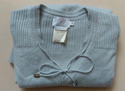 (出清)Max Mara集團VOYAGE by MARINA RINALDI 義大利製,淡藍色100%Cashmere喀什米爾羊毛衫,V領袖口跟腰臀收縮,尺寸S