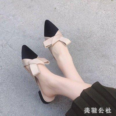一腳蹬 新款包頭半拖鞋女夏新款韓版百搭絲絨尖頭平底無后跟一腳蹬aj1238