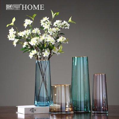 〖洋碼頭〗北歐花瓶擺件客廳插花透明玻璃彩色金邊現代簡約家居裝飾水培花器 ywj666
