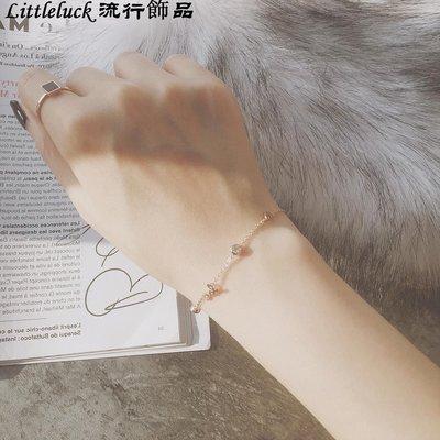 流行飾品Noble Lady 韓國定制極簡氣質 纖細鑲鉆小桃心手錬 19k包玫瑰金