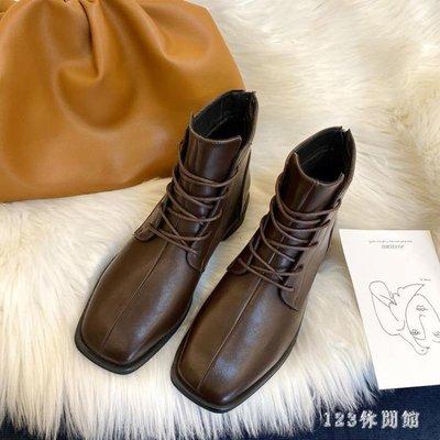 馬丁靴2020新款百搭棕色方頭平底英倫風秋冬季加絨秋款短靴 XN8915