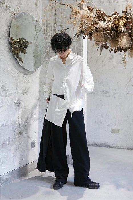 【鈷藍家】山本風SU秋小眾Yohji暗黑襯衫設計感割破不對稱上衣白襯衫