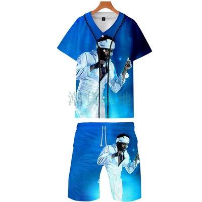 高歌@潮貨基地 2021 唐納德·格洛沃 Childish Gambino 3D薄款棒球服+短褲套裝