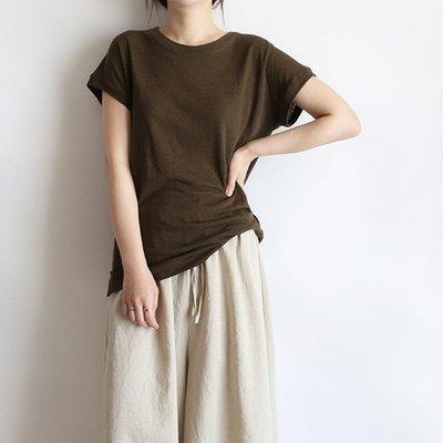 girlmonster 知性穿搭短袖圓領上衣 /棉麻(咖啡 /黃色/ 白色/黑色)【A0504】