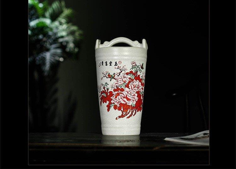 旦旦妙 景德鎮陶瓷 粉彩花瓶 招財水桶風水擺件 紅花款 開心陶瓷476