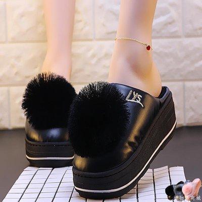 好物多商城 新款冬季pu皮棉拖鞋女室內厚底保暖高跟拖鞋冬韓版時尚可愛拖鞋女