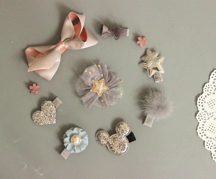 ☆草莓花園☆B45灰色10件組 女寶寶嬰兒安全包布夾 髮飾髮夾飾品禮盒十件套裝組 禮物 造型周歲照 藝術照