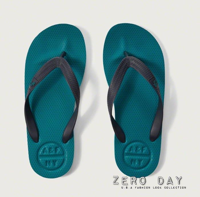【零時差美國】A&F Abercrombie&Fitch Rubber Flip Flops麋鹿海灘夾腳人字拖鞋-藍綠色
