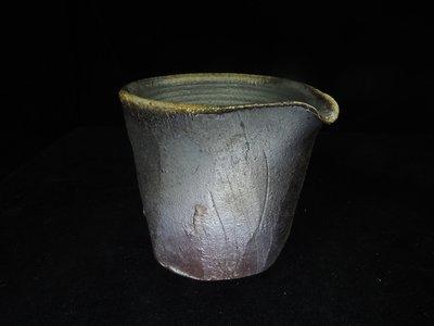 古物玩家】張家誌老師 [柴燒黑陶茶海]茶壺茶海 鐵壺 花器 陶器 藝術品 編號E284
