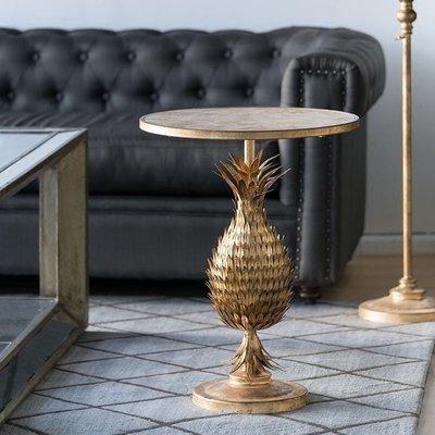 復古做舊金色菠蘿桌造型小茶幾邊幾角幾小咖啡桌