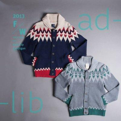 【YOYOGI PLUS】ADLIB - 民族紋開襟厚針織衫 (灰/藍:S~L)