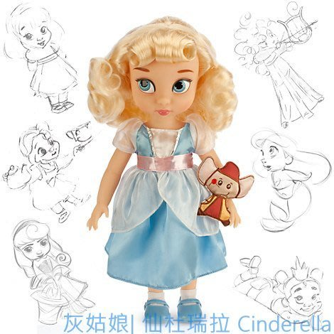 現貨【迪士尼 Disney】全新美國正品 手繪Q版娃娃 灰姑娘 仙杜瑞拉 Cinderella【高約40公分】