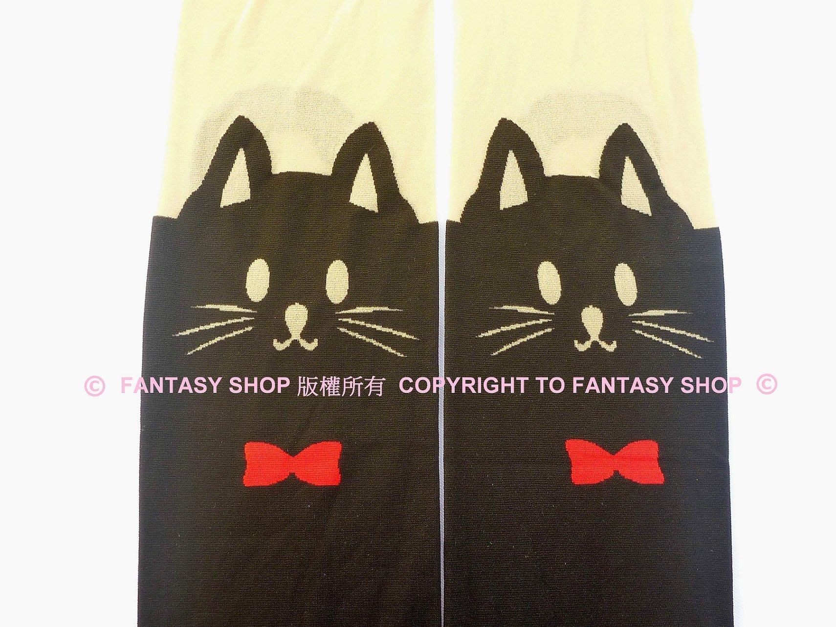 FANTASY SHOP~可愛黑貓紅領結雙色拼接厚絲襪 膝上襪 紳士貓 喵咪 黑喵