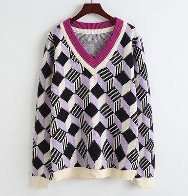 【An Ju Shop】韓國範 春款 V領套頭毛衣方塊寬鬆休閒套頭針織衫打底衫上衣~OB233010