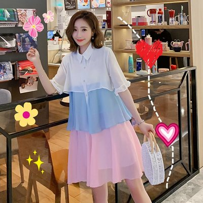 現貨免運新品!法國小眾很仙的雪紡連衣裙2019新款夏仙女超仙甜美蛋糕裙襯衫裙子