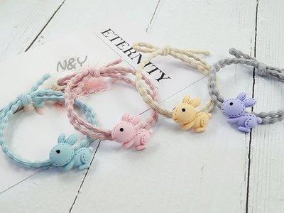 ins韓國網紅糖果色兔子髮圈髮飾髮繩兒...