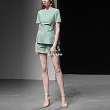 發發潮流服飾2019夏裝新款歐美時尚簡約捻褶修身大擺上衣+顯瘦短褲通勤套裝
