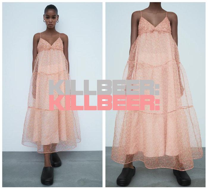 KillBeer:仙女是怎樣煉成的之 歐美復古法式浪漫裸粉嫩橘玫瑰碎花歐根紗透膚低胸吊帶連身裙長洋裝A080404