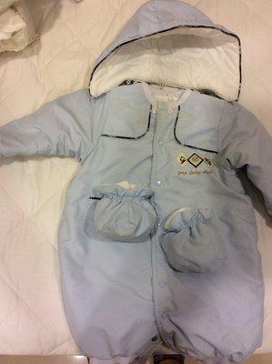 百貨專櫃GMP寶寶冬季厚棉防風連身兔裝外套 含腳套 帽子 80cm