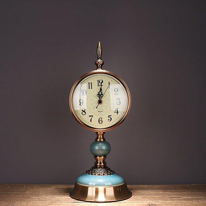 〖洋碼頭〗新中式陶瓷冰裂紋座鐘臺鐘客廳鐘錶擺件美式輕奢創意復古靜音時鐘 ysh640