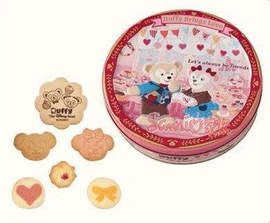 《東京家族》東京海洋迪士尼樂園限定情人節DUFFY達菲熊 雪麗玫 傑拉東尼 圓形 餅乾 盒