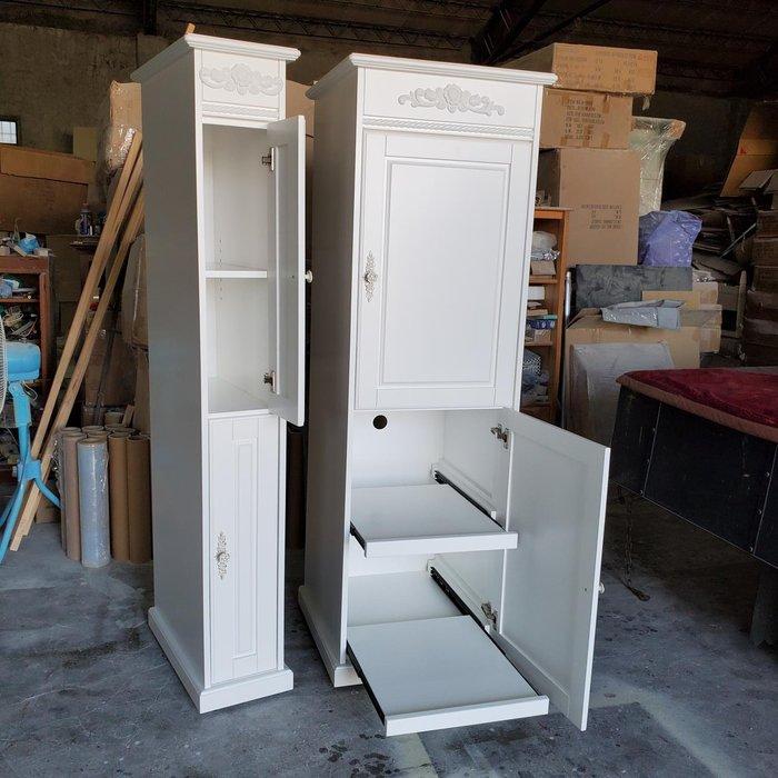 美生活館 古典風格 家具訂製 客製化 雙門 純白色 電器收納櫃 拉板式 收納櫃 廚房置物櫃 立體玫瑰裝飾 餐櫃