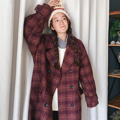 流行格子大衣新款韓版百搭寬松復古格子加厚中長款毛呢外套潮