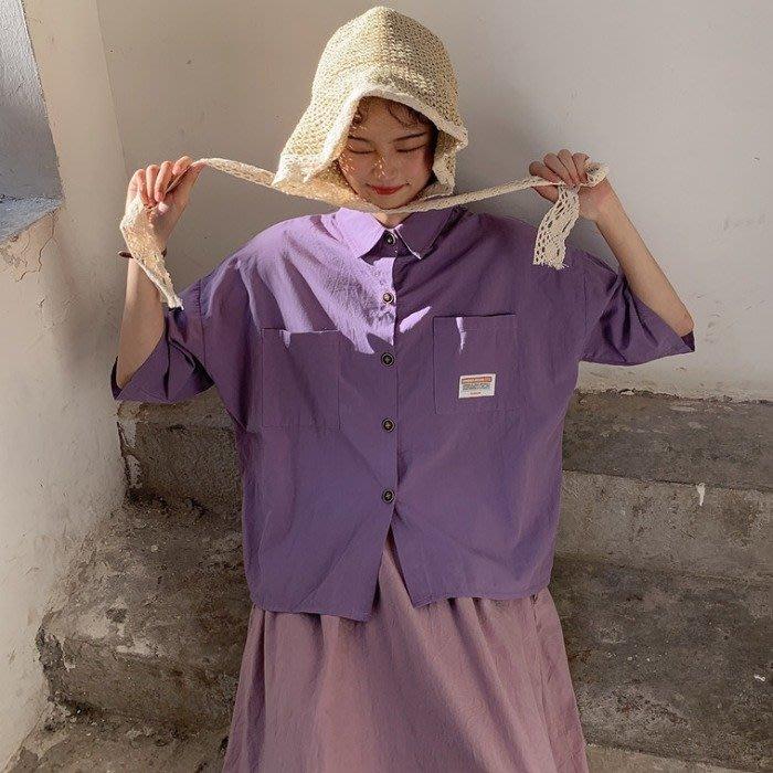 小香風 短袖T恤 時尚穿搭 韓版 寬松簡約工裝貼布口袋POLO領百搭短袖襯衫女學生