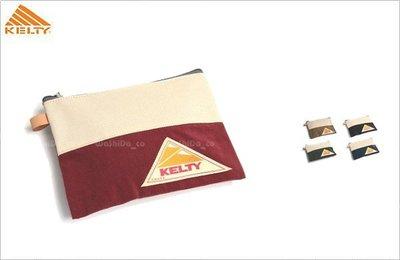 WaShiDa【2592235】日本 KELTY SQUARE POUCH 迷你 帆布 手拿包 收納袋 化妝包 面紙包