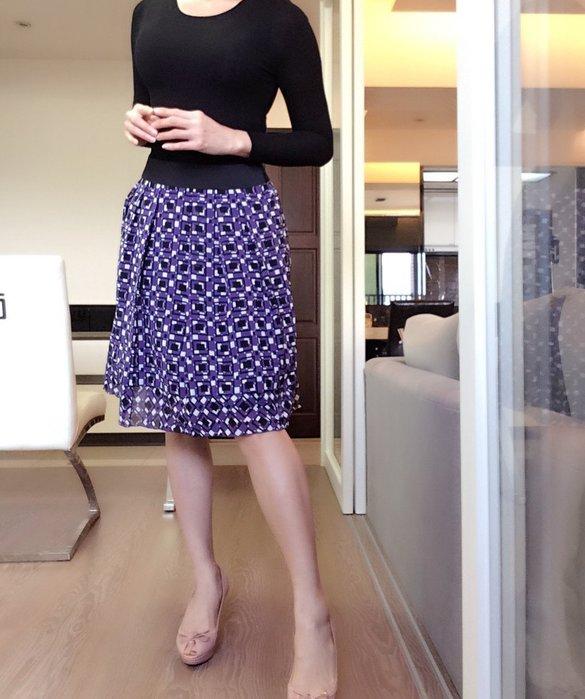 *Beauty*REFLECT 紫色黑白格子雪紡及膝裙 L號 JW