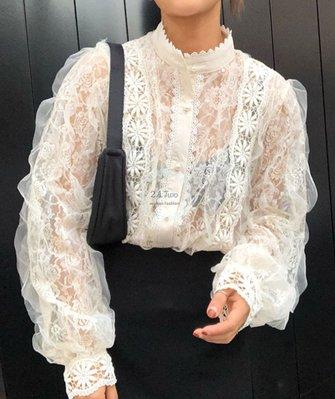 【2A Two】韓⚡唯美蕾絲⌒立領珍珠釦蕾絲上衣『BA0974』