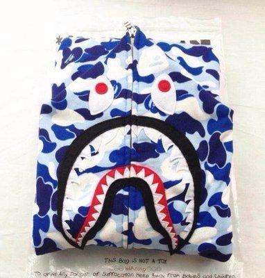 全新正品2014 日本 名古屋 限定B APE迷彩藍鯊魚 拉鍊外套  超好看