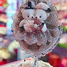 歐式蕾絲恩愛熊化妝鏡美容鏡~米色(訂婚結婚用品專賣)