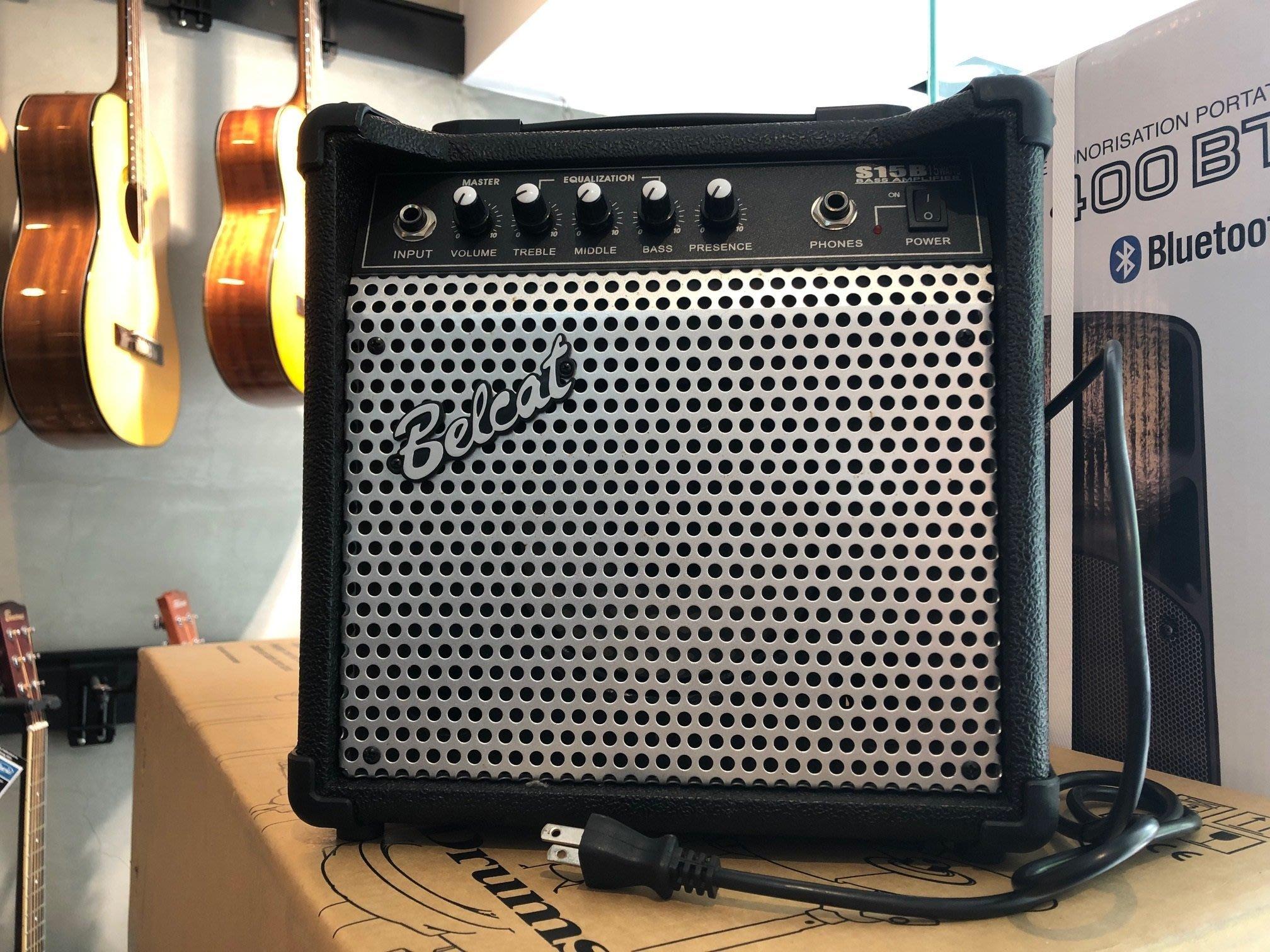 【六絃樂器】全新 Belcat S15B 電貝斯音箱 / 出力15W 金屬面板 三段EQ 附耳機插孔
