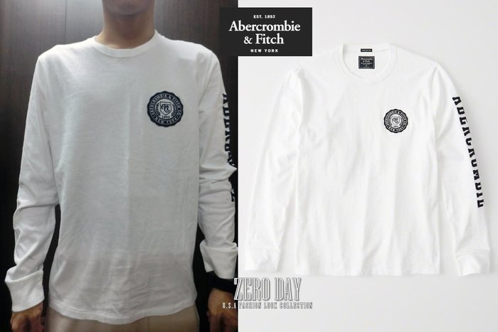 【零時差美國時尚網】A&F真品Abercrombie&Fitch LONG-SLEEVE APPLIQUE TEE長T白