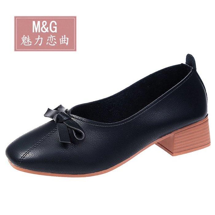 單鞋女粗跟2019新款春季百搭韓版女鞋一腳蹬復古奶奶鞋中跟小皮鞋【伍月生活小鋪】