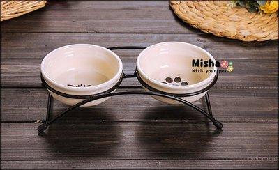 ✿ Misha ✿ 簡單好看小鐵架餐架 寵物專用餐桌 貓狗適用 雙碗 寵物碗盤飼料 贈陶瓷碗 預【滿千免運】
