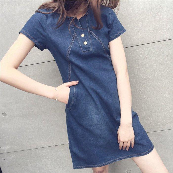 ☆中小碼 [吉米花] B-034756 休閒中長款牛仔連衣裙 ( 深藍.淺藍 XL.5XL ) 現貨